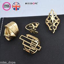NUOVO 4 Pezzi Geometrici in ORO anello Set foglia da Donna Hollow Moda Donna Regno Unito
