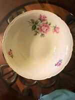"""OLD FINE BOHEMIAN CHINA CZECHOSLOVAKIA PINK ROSES LARGE 10"""" Serving Bowl"""