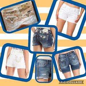 NWT MISS ME white denim frayed shorts gold bling sequin  24 25 26 27 29 30 31 32