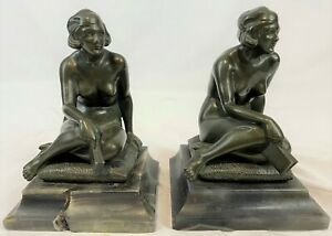 Pair Art Deco c1920 Signed Theodor Ullman Patinated Bronze & Onyx Nude Bookends