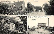 11631/ Foto AK, Gruss aus Gontkowitz, Gasthaus, Brennerei, Dorfstr., Schloß,1913