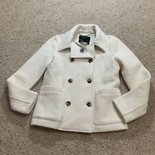 J Crew Womens Italian Boiled Wool Peacoat Double Breasted 2 AB605 Ivory