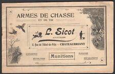 Catalogue armes de chasse. Maison Sicot à Chateaubriant. Vers 1900