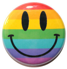"""1"""" (25mm) Rainbow Smiley Face Button Badge Pin - MADE IN UK"""