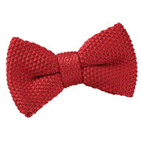 DQT Knit Knitted Plain Crimson Red Casual Adjustable Pre-Tied Boys' Bow Tie