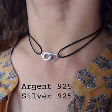 Collier Ras de Cou Menotte Argent 925 et Cordon,16 couleurs au choix