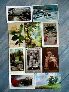 10  vintage Birthday, Christmas & Easter postcards
