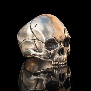Handmade bronze mens biker skull ring inspired by Keith Richards - Relic Series