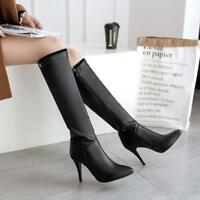 Women Knee High Boots Slouch Pointed Toe LeatherHigh Stiletto Heels Zipper Shoes