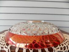 Vintage Indiana Glass Diamond Point Ruby Red Trim Large Centerpiece Serving Bowl