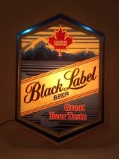 "Vintage Black Label Beer Sign~Lighted~Canadian Heritage~18"" X 12"" WORKING!"