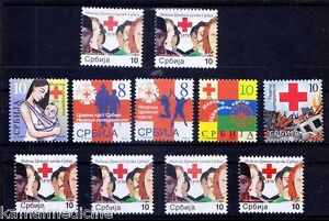 Red Cross Lot, Serbia MNH 10 Different Sets