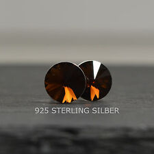 Ohrstecker mit Swarovski® Elements Sterling Silber 925 Rivoli 8mm smoked topaz