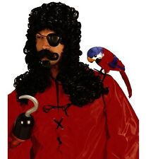 Captain Hook Wig Long Black Curly Wig Pirate Fancy Dress w/ Goatee & Moustache