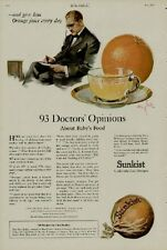 1920 SUNKIST ORANGES AD / 93 DOCTOR'S OPINIONS...GIVE HIM ORANGE JUICE EVERY DAY