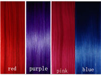 20'CLIP IN REMY REAL HUMAN HAIR EXTENSIONS *1pc Single Clip Red Pink Blue Purple