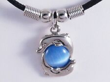 "New 19"" Corded Necklace with Blue Cats Eye & Dolphin Pendant #N2120"
