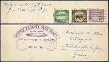 OCT 28,1928 FIRST FLIGHT COVER BY GERMAN AIRSHIP LZ127 FROM LAKEHURST, NJ BN8868