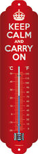 Keep calm and carry on Thermometer Blechschild Schild Sign 7x28 cm - Klassiker
