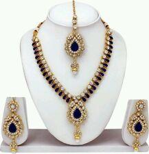 NEW SOUTH INDIAN GOLD PLATED DIAMOND&KUNDAN NECKLACE EARINGS TIKA JEWELLERY SET
