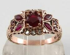 LARGE 9CT 9K ROSE PINK GOLD RUBY DIAMOND ART DECO INS RING FREE RESIZE