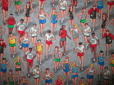 Run Racing Sports Compete Marathon Runners Cotton Fabric BTHY
