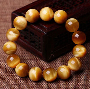 Natural Handmade Gold Tiger's Eye Gemstone Round Beads Stretchy Bracelet 7.5''