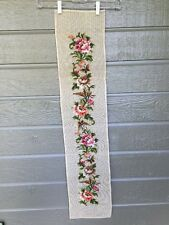Preworked Bell Pull Needlepoint Canvas Beautiful Roses Petit Point Butterflies