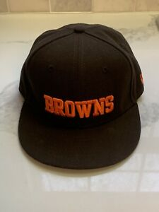 Cleveland Browns 59 Fifty Ball Cap Hat Fitted Youth 6 5/8 Orange New Era NWOT