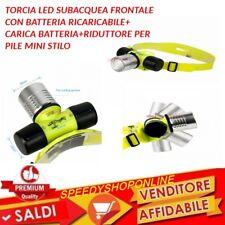 LAMPADA TORCIA LED FRONTALE SUBACQUEA IMPERMEABILE CREE LED WATERPROOF SUB L ABS