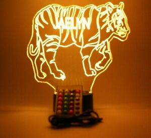 Large Tiger Animal Night Light Up Lamp LED Personalized Free Custom With Remote