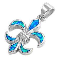 """Blue Australian Opal Fleur De Lise .925 Sterling Silver Pendant 1"""""""