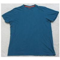 Carbon Blue Crewneck Solid Tee T-Shirt Top XL Extra Large Cotton Mans Mens O35