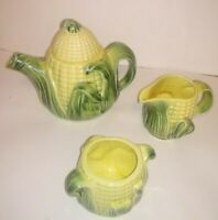 VINTAGE 4pc Set of STANFORD WARE CORN Majolica Pottery RARE EARLY TeaPot Pitcher