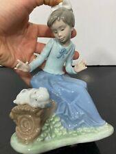 Lladro 1988 Nao Glazed Porcelain Art Statue Figurine Girl With Dog