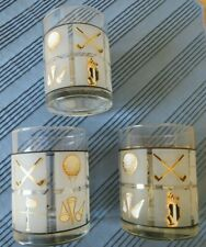 3 Glasses with Golf motif - tumblers