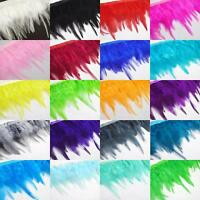 "(Ya)-Dyed Rooster/hen/chicken 3""-5"" feather Fringe Craft Trim Fascinator Ribbon"