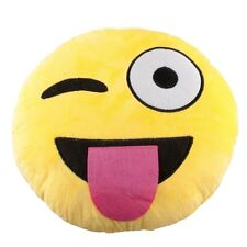 """USA SELLER Emoji Pillow 12"""" Inch  Yellow Smiley 30cm Emoticon (Tongue) Silly"""