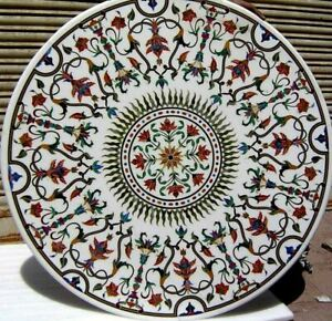 """30"""" white marble table top center coffee inlay malachite lapis stone room d112"""