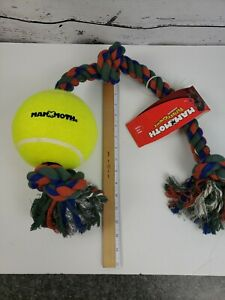 """HUGE Mammoth 36"""" 3 Knot Dog Horse Toss Tug Toy With 6"""" Tennis Ball Attached NEW"""