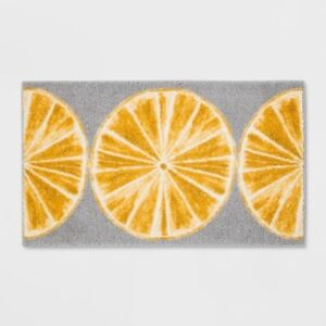 "THRESHOLD Lemon Slices Kitchen Rug | 20""x34""| Gray/Yellow | Rectangle | 🆕"