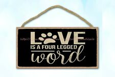 retro plaques love is a four legged word dog pet wood sign