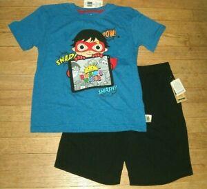 Ryan's World  Tee Size 7 And Sleep Shorts Pajamas Size 6/8 Separates,SOLD AS SET