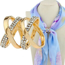 Clip Holder Rhinestone Silk Scarves Brooch Double X Cross Simple Scarf Ring