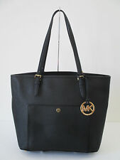 Michael Kors Large Snap Pocket Tote Saffiano Black Leather Handbag $228