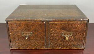 Vintage Library Bureau Solemakers Oak 2 Drawer Card Catalog File Cabinet Box