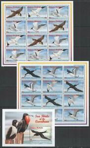 [AB] ANTIGUA & BARBUDA 1996 BIRDS, SET OF 4 SHEETS OF 12 + S/SHEET.