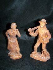 2 belle antique Art de la gravure sur bois Motifs Bauer et Fermière ca 18 cm