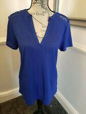 Ladies Soon Top Royal Blue Short Sleeve Lace Detail Size 12
