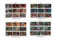 2018 Disney Mickey's Christmas Carol 4 SOUVENIR SHEETS MICKEY MOUSE